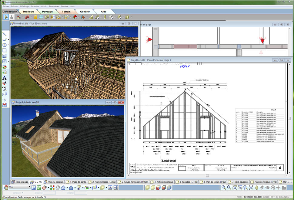 Envisioneer construction bois ossature bois et architecture for Logiciel creation de plan