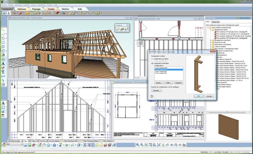 Envisioneer construction bois ossature bois et architecture for Creation plan maison gratuit