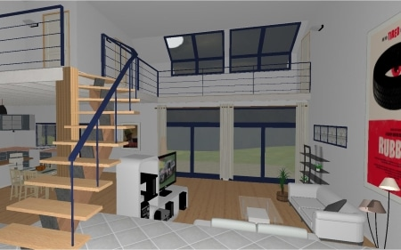 Maison demi-niveau : vue simple