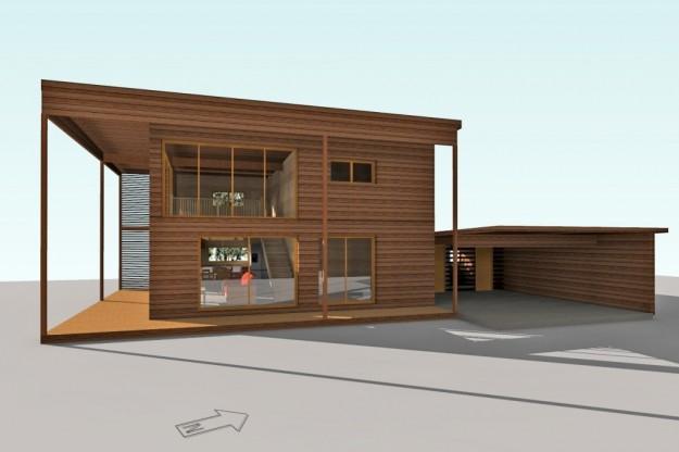 Maison à ossature bois de style moderne