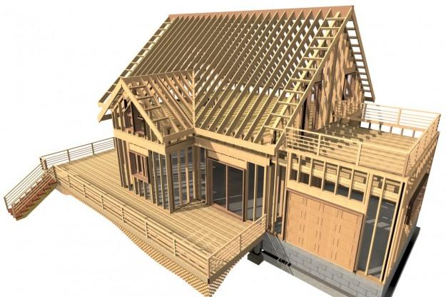 Etude en 3D de l'ossature bois sur un projet