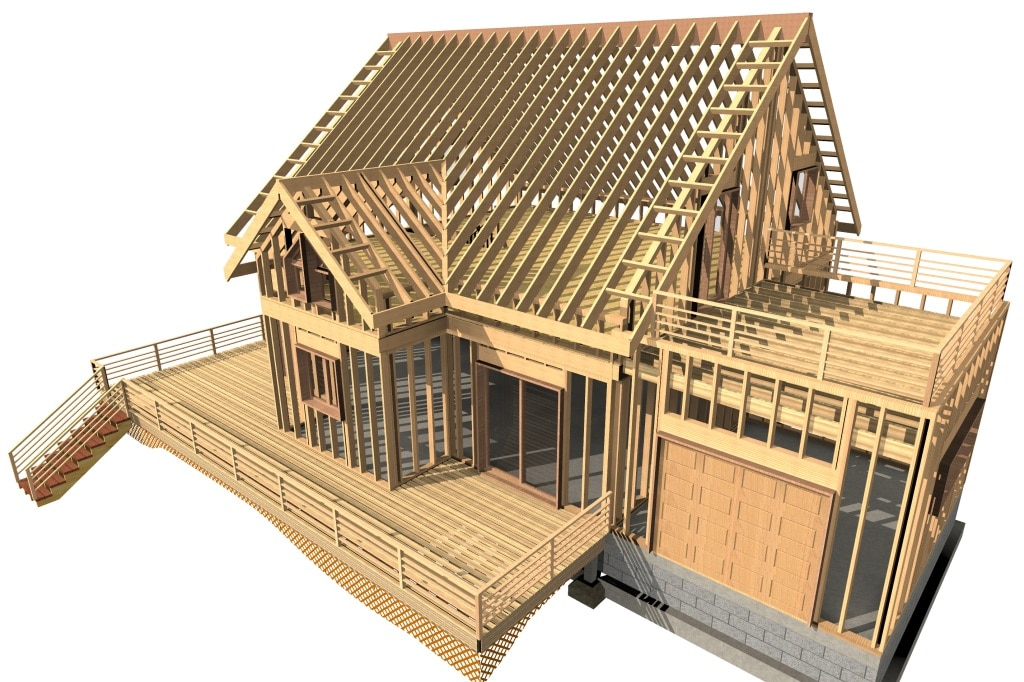 construction bois 3d